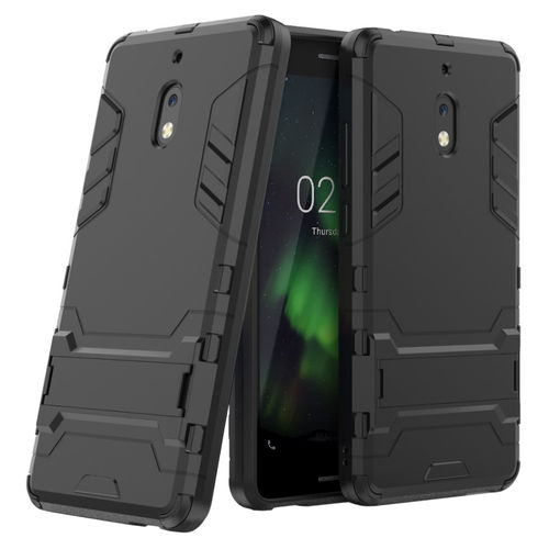 Slim Armour Tough Shockproof Case Stand for Nokia 2.1 - Metallic Black